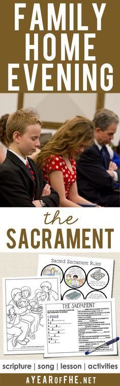 A free Family Home Evening plan all about the SACRAMENT. Includes a song, scripture, lesson and lots of great activites to choose from for little kids, older kids, and teens! Your FHE is all planned for you...just CLICK, PRINT, and TEACH! #lds #sacrament