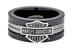 Harley-Davidson Men's Ring, Bar & Shield Steel Cable Band, Black HSR0021 (9) Harley-Davidson http://www.amazon.com/dp/B00U0J02LS/ref=cm_sw_r_pi_dp_0m47vb0GYXZ2D