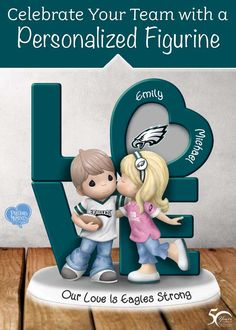 Let the love you have for the Philadelphia Eagles and your sweetheart soar to new heights! Officially licensed by NFL Properties LLC, this one-of-a-kind treasure is personalized with the names of you and your sweetheart!  Plus, this NFL collectible figurine is handcrafted and hand-painted in meticulous detail, sure to warm your heart!