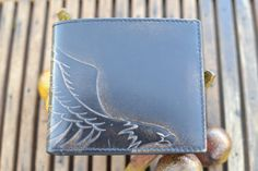 EAGLE Embossed Leather Bifold Wallet by HouseofJackCo on Etsy, $40.00