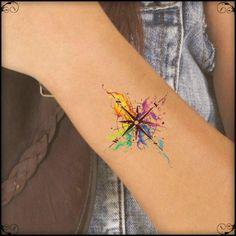 Temporary Tattoo Watercolor Compass Ultra Thin Realistic Wörter Tattoos, Neue Tattoos, Trendy Tattoos, Body Art Tattoos, Small Tattoos, Tattoos For Women, Cool Tattoos, Colorful Tattoos, Tatoos