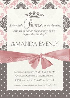 Elephant baby shower invitation elephant baby shower elephant baby princess baby shower invitation lavender and grey damask princess invitation baby girl shower invitation printable or printed filmwisefo