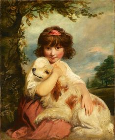 A young girl and her dog c.1780. Sir Joshua Reynolds b.1723 d.1792. Oil on canvas. Subject of painting is the same Miss Jane Bowles - see 1775 portrait of  the Wallace Collection. Tokyo Fuji Art Museum