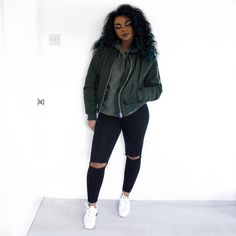 sporty, fall, spring, white, sneakers, bomber, olive, distressed, denim