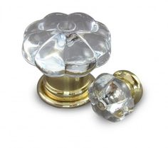 Description:	Pumpkin Design Crystal Door & Cabinet Knobs  Door version shown with Clear Crystal Knob and Bel Polished Brass Rose  Cabinet version shown with Clear Crystal Knob and Bel design Polished Brass Rose