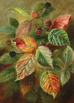Albert Durer Lucas ~ Blackberries ~Isn't The Detail Exquisite! Oil On Canvas~ Southampton City Art Gallery, Hampshire, England ~ Painting x Art Floral, Illustration Botanique, China Painting, Art Uk, Art For Art Sake, Leaf Art, Botanical Art, Beautiful Paintings, Painting & Drawing