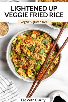 This vegan fried rice is an easy, healthy, gluten free and flavorful recipe that's perfect for a quick dinner. With lots of veggies, scrambled tofu and soy sauce, this 20 minute recipe is full of flavor, protein and even freezer friendly! Make a big batch of this fried rice for meal prep! #friedrice #veganfriedrice Gluten Free Recipes Side Dishes, Gluten Free Recipes For Dinner, Healthy Pasta Recipes, Lunch Recipes, Meal Recipes, Vegan Fried Rice, Vegan Fries, Vegetable Fried Rice, Fried Vegetables