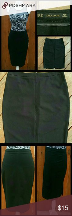 "Zara pencil skirt Black pencil skirt with T gray stitching in the front and all around waist you can see it in picture #2, #4. In good condition with walking slit and back zipper. Outseam approx 24"" Waist all round approx 29"". Zara Skirts Pencil"