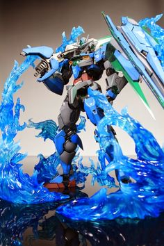 GUNDAM GUY: MG 1/100 GNT-0000 00 Qan[T] w/ Blue Flame Effect Parts - Painted Build