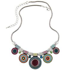 Vintage Silver Plated Colorful Pendant Choker Necklace
