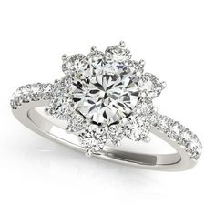 Diamond Halo Engagement Ring - Snowflake - Moissanite Rings