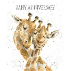 Loving this White Be-long Together 'Happy Anniversary' Giraffes Greeting Card - Set of Two on Happy Anniversary Wedding, Happy Anniversary Quotes, Anniversary Greetings, Anniversary Message, Anniversary Funny, Happy Birthday Messages, Happy Birthday Images, Happy Birthday Greetings, Birthday Quotes