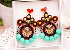 Soutache folk colorful handmade pom-pom stud earrings by nikuske on Etsy