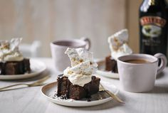 Chocolate Brownies with Baileys cream and hazelnut meringue shards