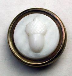 Antique Glass in Metal Button Milk Glass Acorn in Brass Setting 11/16 inch