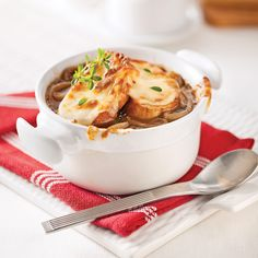 Soupe à l'oignon gratinée (French Onion Soup). Despite the name, this soup isn't suitable for vegetarians as it is traditionally made using a rich beef stock. It's incredibly easy to make and very warming and filling. It's usually served topped with slices of baked baguette flavoured with a hint of garlic and covered in melted cheese.