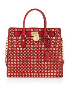 Michael Kors  Hamilton Large Grommet Tote Bag, Red - $350