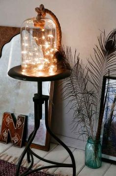 Put a battery-powered strand in a bell jar for an artsy DIY light.
