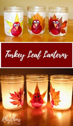 These turkey leaf lanterns are made with real leaves, but you can use silk leaves too. The tutorial makes this autumn nature craft easy for both kids and adults.  Fall decor and easy DIY centerpiece for any holiday table. Click through to learn how to make your own Thanksgiving luminary out of recycled glass or mason jars!