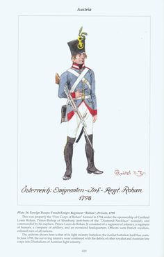 """Austria: Plate 34. Foreign Troops: French Emigre Regiment """"Rohan"""", Private, 1798"""