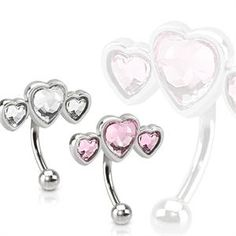 West Coast Jewelry Triple Heart Surgical Steel Eyebrow Curve with Paved Heart Shaped CZs (Sold Ind. Eyebrow Piercing Jewelry, Piercing Labret, Piercings, Eyebrow Ring, Belly Rings, Belly Button Rings, Piercing Arcade, Wholesale Body Jewelry, Pink Ring