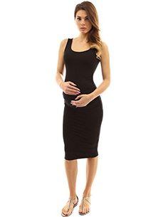 f5f0d26db277 PattyBoutik Mama Scoop Neck Maternity Tank Dress (Black S... Black Tank  Dress