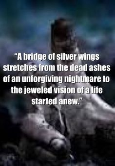 "Beautiful quote.  ""A bridge of silver wings stretches from the dead ashes of an unforgiving nightmare to the jeweled vision of a life started anew.""  ― Aberjhani, The River of Winged Dreams"