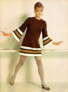Model in a brown knit dress, 1960s.