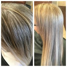 From gray, to fabulous blonde with highlights! So beautiful