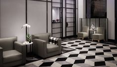 Morgans: The intimate lobby introduces guests to the overall black, white and gray checkered scheme.
