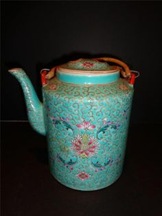 Antique Chinese Turquoise Famille Rose Ground Scrolling Foliate Teapot