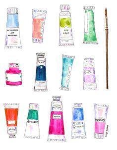 My Favorite Art Tools & Supplies – Evelyn Henson Printable Stickers, Cute Stickers, Evelyn Henson, Instagram Highlight Icons, Doodle Art, Art Supplies, Cute Art, Gouache, Watercolor Art