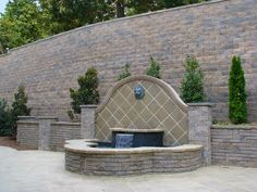 Water feature built in front of retaining wall Garden Furniture, Diy Furniture, Retaining Walls, Water Features, Fun Stuff, Patio, Landscape, Building, Outdoor Decor