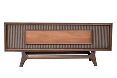 Mid Century Modern Turntable Stereo Console // Repurposed Stereo Cabinet // Bluetooth & iPhone Speaker // Modern Turntable //
