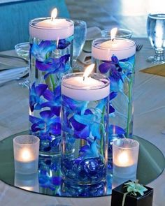 Romantic DIY Floating Candles Crafts Ideas - Page 50 of 54 - Kornelia Beauty Blue Wedding Centerpieces, Wedding Table Centerpieces, Floral Centerpieces, Royal Blue Wedding Decorations, Unicorn Centerpiece, Shower Centerpieces, Centerpiece Ideas, Floral Arrangements, Turquoise Centerpieces