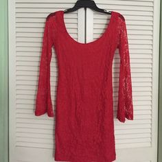 Red lace dress with flared long sleeves! Size S, red lace dress with beautiful long see through sleeves! Dresses