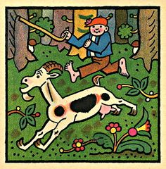 Goat is running in a forest Painters, Illustrators, Sheep, Goats, The Past, Clip Art, Kids Rugs, Running, Retro
