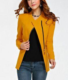 Long Mustard Winter Blazer