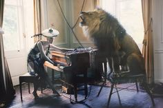 Suzy Menkes visits Paris Photo: '...the whimsical and poetic Tim Walker, whose sweetly surreal 2013 picture of red-head model Karen Elson at a piano with a singing lion was put on display by the Michael Hoppen London gallery..'