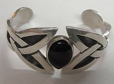 Vintage Sterling Silver Onyx Cuff Bracelet From Mexico by COBAYLEY