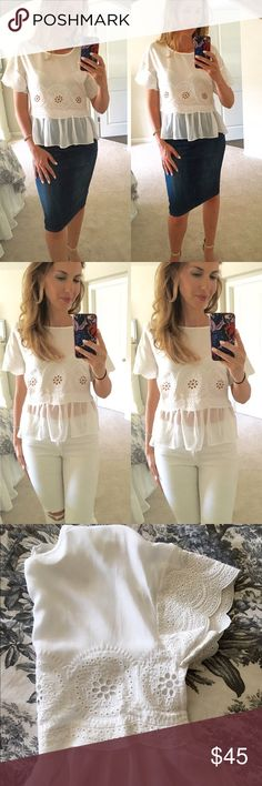 Thread white lightly top Embroidered eyelet top with a sheer ruffle hem . 1/2 sleeve with a back button closure. White. 100% rayon. This is a bit sheer. Can be dressed up or down. I am modeling extra small. Tops Blouses