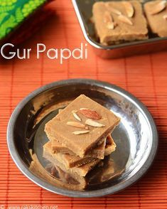 How to make Gur papdi- this is a sweet dish prepared using wheat flour, jaggery and ghee with cardamom flavour. This sweet is usually made in winter. Indian Dessert Recipes, Indian Sweets, Sweets Recipes, Baking Recipes, Indian Recipes, Gujarati Recipes, Navratri Recipes, Gujarati Cuisine, Diwali Recipes