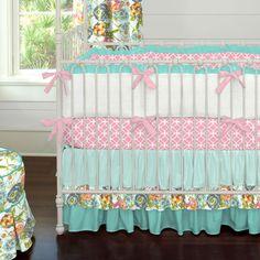 Teal Flower Garden Crib Bedding   Carousel Designs
