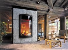 Double-sided fireplace, fireplace - All architecture and design manufacturers - Videos Vent Free Gas Fireplace, Custom Fireplace, Stove Fireplace, Wood Fireplace, Modern Fireplace, Fireplace Design, Contemporary Fireplaces, Contemporary Cabin, Gas Fireplaces