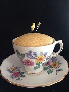 New Tea Cup Pin Cushion Pink Yellow Daisy Royal Vale Bone China Vintage Sewing