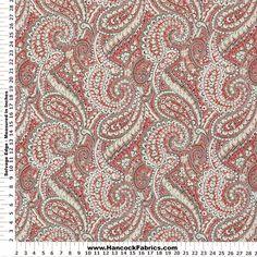 Outdoor Nessa Paisley Cinnabar Red Polyester Fabric - Outdoor & More Fabrics