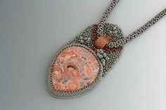 Bead Embroidery Pendant Necklace. Mine shaft basalt cabochon. Glass. Copper. Cab Pendant.