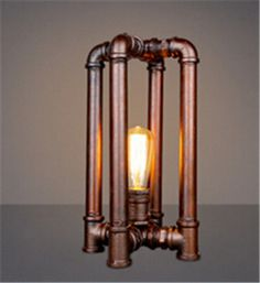 Industrial Country vintage table lamp copper color Retro Water Pipe Desk Lamp Edison Lamp Bulb E27 loft/coffee shop reading lamp