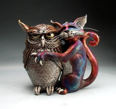 Mitchell Grafton - Grafton Pottery #cat #owl