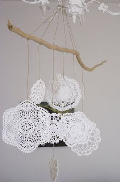 doily mobile with driftwood two things I really like